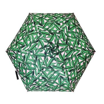 Tropical Leaves Umbrella in Pink and Green