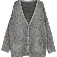 ROMWE | Buttoned V-neck Grey Cardigan, The Latest Street Fashion