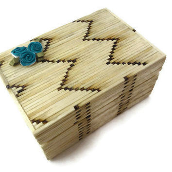 Matchsticks Jewelry Box Wooden Trinket Box Tiffany by Istriadesign