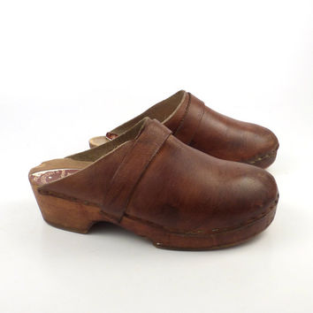 Wooden Clogs Shoes Vintage 1980s Wallstrom's Brown Leather Size 35