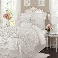 Lucia 4-pc White Comforter Set Cal King - Gifts for You and Me