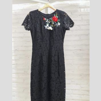 Ebony Lace Embroidered Ribbon Dress
