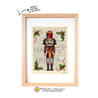 The Nutckacker dictionary print-Nursery print-Fairy Tale print-Christmas print-Nutcracker on book page-Upcycled Dictionary art- NATURA PICTA