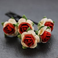 Red Rose Bobby Pins Valentines Day Wedding Bridal Hair Accessory