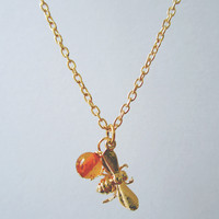 Bumbling Along Bee and Amber Necklace | Eclectic Eccentricity Vintage Jewellery