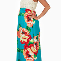 Teal-Floral-Print-Crochet-Top-Maternity-Maxi-Dress