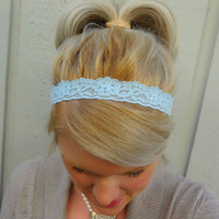 Baby blue stretch lace headband - feminine - romantic - classic