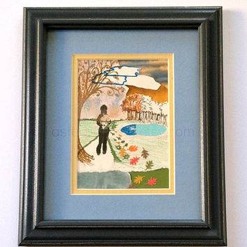 Running Art Original 8 x 10 Framed Mixed Media Paper Collage - Nature Theme - Gift Idea for Runner