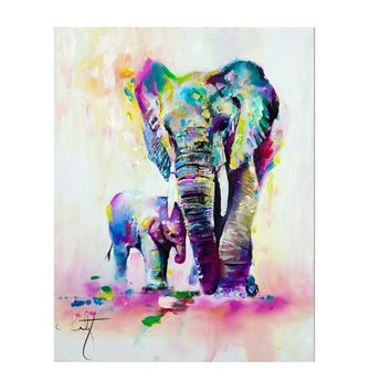 Elephant With Son Canvas Painting Printed Wall Pictures