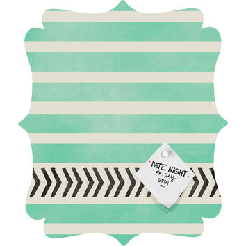 Allyson Johnson Mint Stripes And Arrows Quatrefoil Magnet Board