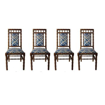 Pre-owned Hollywood Regency Bamboo Dining Chairs - Set of 4