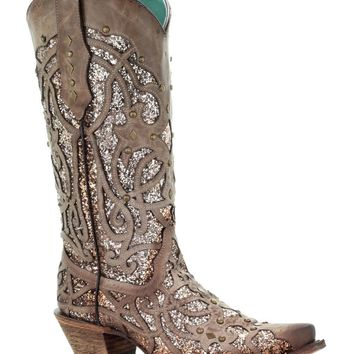 Corral Orix Glitter Inlay & Studs Snip Toe Fashion Western Boots