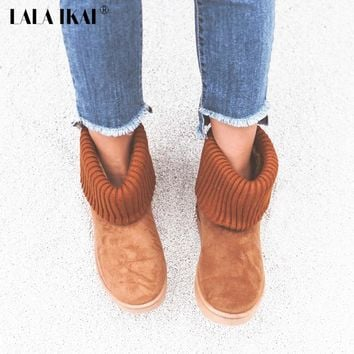 LALA IKAI Women Classic Snow Boots Knitting Wool Cuff Patchwork Female UG Australian Warm Plush Furry Cotton Flat Shoes N0926-0