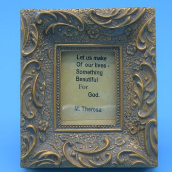 Gold Miniature Frame Mother Theresa Quote Vintage Dollhouse Picture Frame Baroque Ornate Wide Frame Table Vanity Dresser Mini Frame