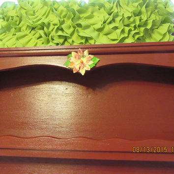 Up-Cycled Cottage Chic Hand Painted Wooden Shelf or Spice Rack in Apple Barrel Tuscan Red With Multi-Colored Tuscan Red Flower Accents