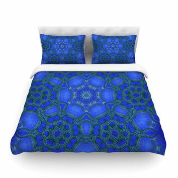 "Justyna Jaszke ""Blue Mandala"" Blue Abstract Pattern Digital Mixed Media Featherweight Duvet Cover"