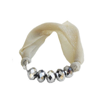 Fabric BRACELET - Cream textile bangle with silver beads