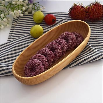 Hot Japanese Oval Cake Dish Solid Wooden Boat Shaped Plate Eco-Friendly Wooden Tableware Home Restaurant Dishes & Plates
