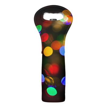 Multicolored Christmas lights. Wine Bag