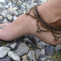 Macrame anklet, gypsy beaded Anklet with jiggle bells, for her, hippie jewelry, indian anklet