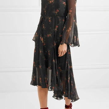 Zimmermann - Folly floral-print Swiss-dot chiffon midi dress