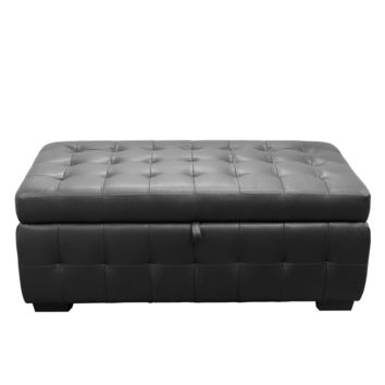 Zen Collection, Bonded Leather Lift Top Tufted Storage Trunk Black