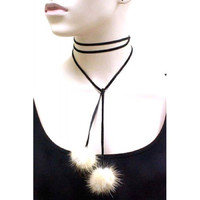 FUR POM POM VELVET WRAP CHOKER NECKLACE SET - White