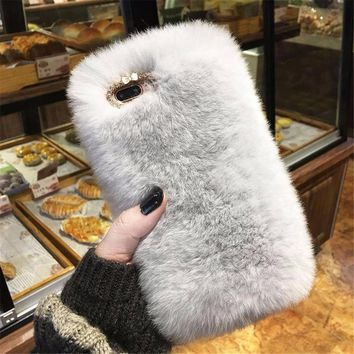 LISHE Luxury Rabbit Fur Case for iPhone 8 7 6 6S Plus Cover Fashion Bling Diamond Winter Soft Furry Shell Plush Phone Cases