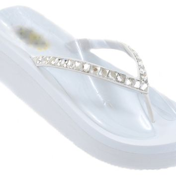 Diamond Rhinestone Bling Wedge Flip Flop Slide Platform Wedding Sandals