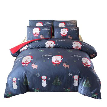 Christmas Gift Home Decorative Bedding Set 2/3 Pc Cartoon Santa Claus Deer Printed Duvet Cover Set Bed Linens 2/3 Pc Bedding Set
