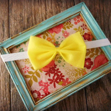 Baby Girl  Tulle Bow Headband, Yellow Tulle Hair Bow, Baby Girl Hair Accessories, Yellow Headband, Birthday Outfit Headband, Tutu Headband