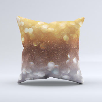 The Unfocused Silver and Gold Glowing Orbs of Light ink-Fuzed Decorative Throw Pillow
