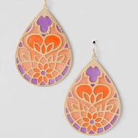 CHAMBORD STAINED GLASS TEARDROP EARRINGS IN PINK