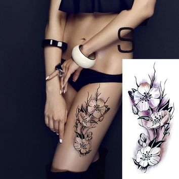 2017 Waterproof temporary tattoos stickers   sexy romantic dark rose flowers flash fenna tattoos fake body art Tattoo sleeve