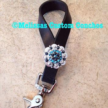 Horse tie down keeper for breast collar . Swarovski crystals dark oil leather