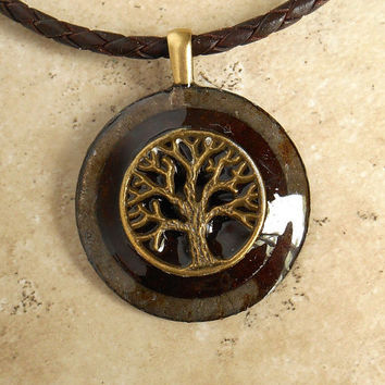 Tree of Life Necklace: Rusty - Mens Jewelry - Leather Cord - Boyfriend Gift - Celtic Jewelry - Mens Necklace - Tree Jewelry - Fathers Day