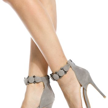 Grey Faux Suede Ankle Strap Single Sole Heels @ Cicihot Heel Shoes online store sales:Stiletto Heel Shoes,High Heel Pumps,Womens High Heel Shoes,Prom Shoes,Summer Shoes,Spring Shoes,Spool Heel,Womens Dress Shoes