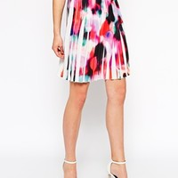 French Connection Miami Graffiti Pleated Skirt