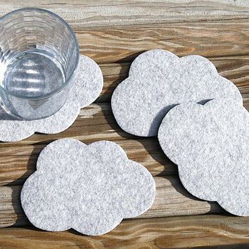 Cloud Wool Felt Coasters 5mm Thick