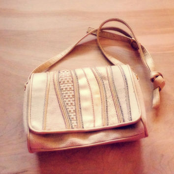 Vintage 1980s Natural and Gold Tone Purse