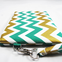 Green and metallic gold chevron wristlet clutch, iPhone case, smartphone sleeve, coin purse