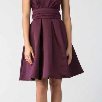 Eggplant Knee Length Bridesmaid Dress Strapless Empire Pleated Bodice