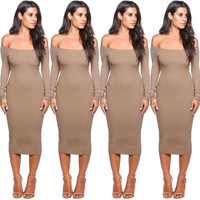 Off Shoulder Strapless Long Sleeves Bodycon Midi Dress
