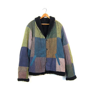 90s Sacred Threads Jacket Colorful Patchwork Coat Button Up Purple Blue Green Sherpa Lined Cotton Fall Jacket Boho Hippie Womens Medium