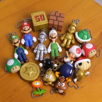 Super Mario party nes switch  Brothers  Luigi Mushroom Goomba Koopa Boo Mini PVC Figures Pendants Keychains 19pcs/set 2~5cm AT_80_8