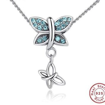 925 Sterling Silver Blue Crystals Butterfly Pendant Necklace