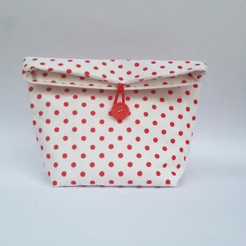 make up bag, polka dot, red and white, cotton fabric, large cosmetic bag, foldover bag