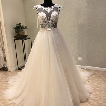 Robe de mariee New Fashion Wedding Dresses 2018 O-Neck Cap Sleeve Court Train A-Line Appliques Tulle Backless Bride Dresses