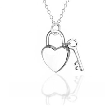 Love Lock Key Heart 2 Small Charm Pendant Sterling Silver Necklace