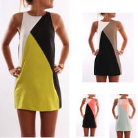 Hot Fashion Contrast Color Geometric joint Round collar Sleeveless Dress